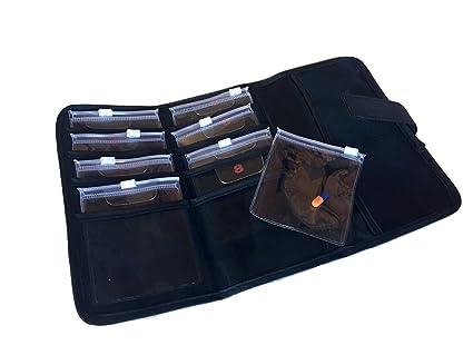 Estuche de lujo - con sensor de diseño de cartera - con tapa con cierre de cremallera de sellado de bolsillos por hoja negro: Amazon.es: Salud y cuidado personal