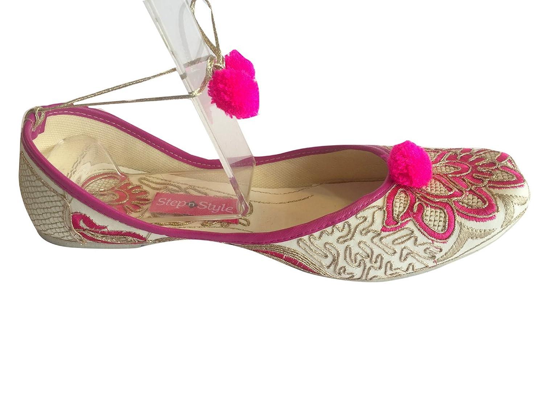 Schritt N Style Damen Khussa Schuhe Spitze bis Panjabi Jutti Ethnic Mojari Handgefertigt Ballerina Schuhe Casual Pumpen, Violett - Violett - Größe: 37