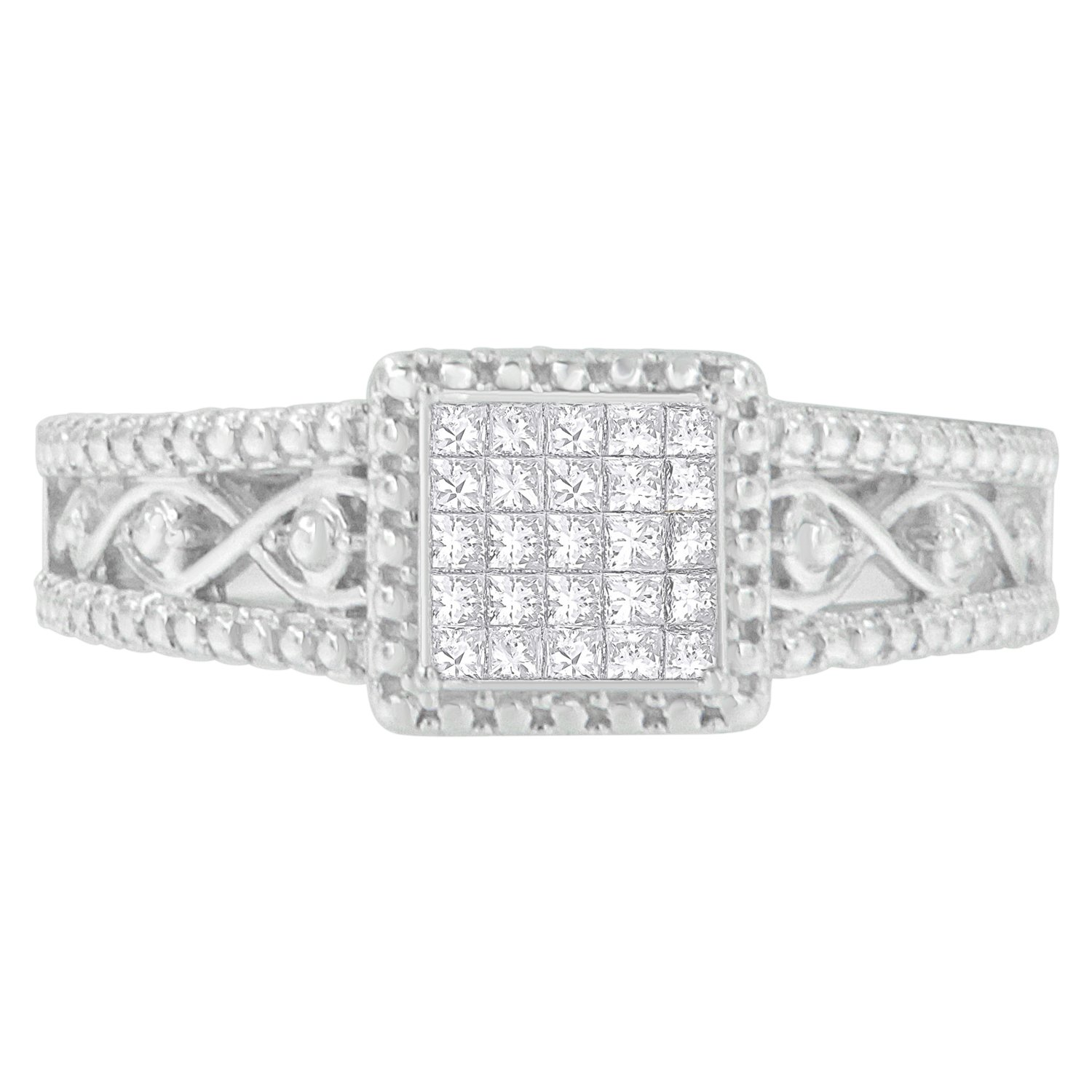 Sterling Silver Princess Cut Diamond Ring (0.26 cttw, I-J Color, I2-I3 Clarity)