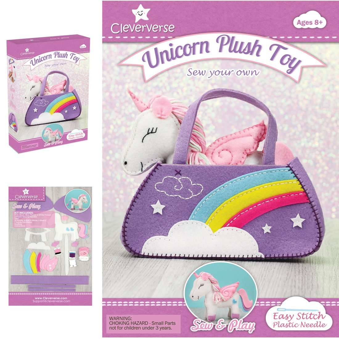Cleververse Unicorn Plush Toy Sewing Kit for Girls - Craft Stuffed Plush Gift