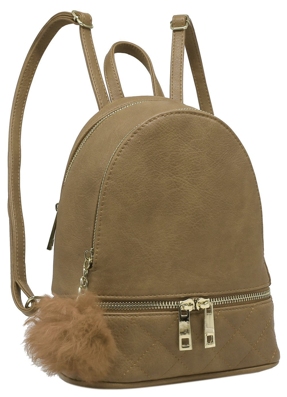 Poche Zip Pompon Marron Taupe Fashion Backpack
