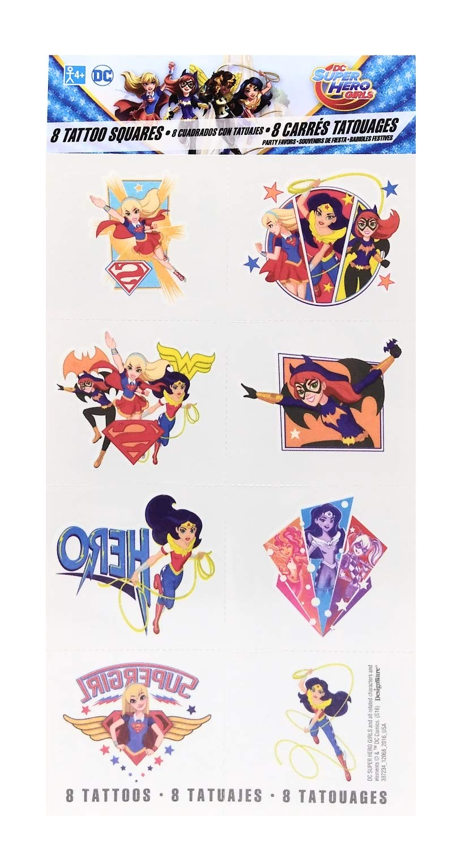 Amscan DC Superhero Girls Tattoos Birthday Party Supplies 8 Tattoos