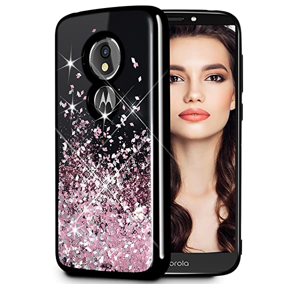 new style 4c68a 775f6 Caka Moto G6 Play Case, Moto G6 Play Glitter Case Starry Night Series  Fashion Luxury Bling Flowing Liquid Floating Sparkle Glitter Girly Soft TPU  Case ...
