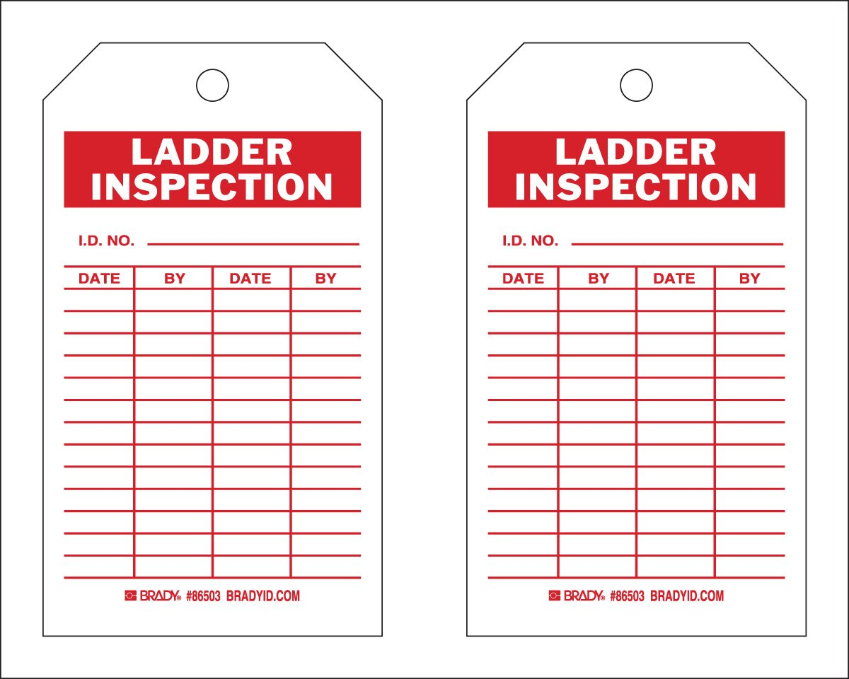 Brady  86503 7'' Height x 4'' Width, Heavy Duty Polyester (B-837), Red on White Ladder Tags (10 Tags) by Brady