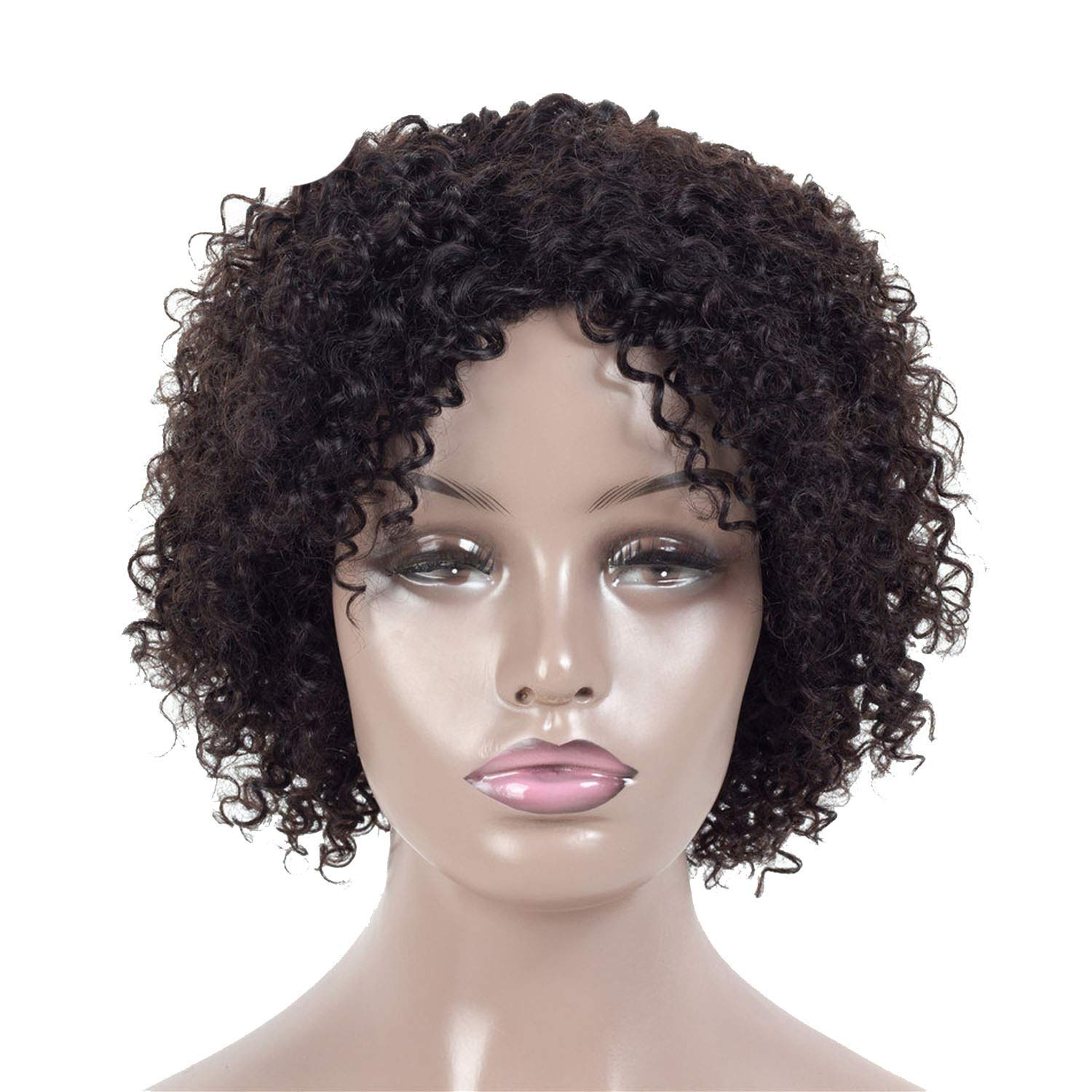 DKFH Shirts Short Human Hair Wigs for Black Women Jerry Curl Human Hair Wigs 4 Colors Wigs,None Lace,#1B KDE by DKFH