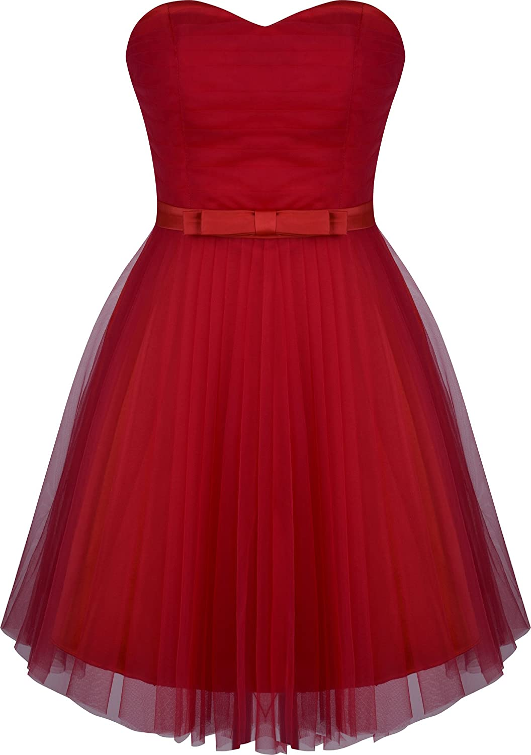 Angel-fashions Women's Sweetheart Pleated Tulle Prom A-line Cocktail Dress Red) A-278RD-L