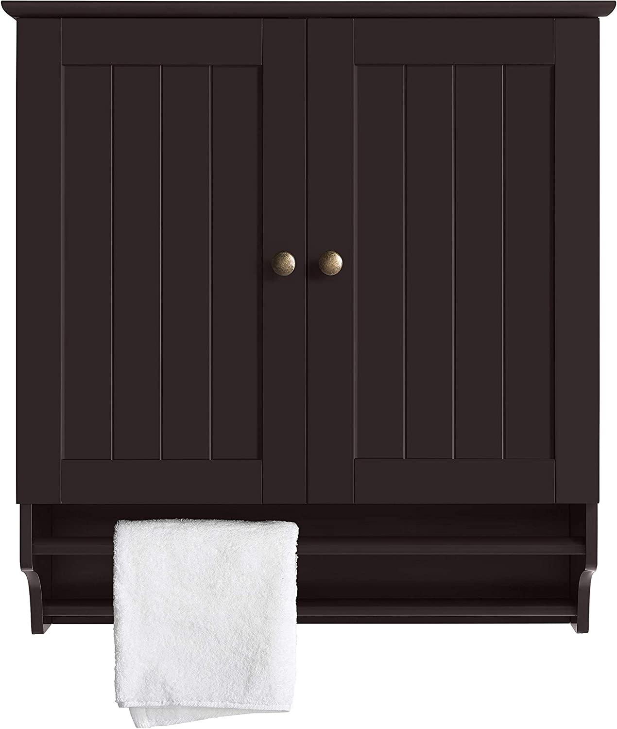 YAHEETECH Bathroom Wall Storage Cabinet, Over Toilet Organizer Space Saver Kitchen Doule Door Cupboard with 2 Hanging Bars, Espresso