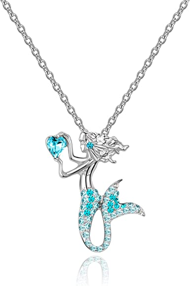 Little Mermaid Necklaces for Girls,Unicorn Birthstone Pendant Jewelry Gifts Set for Women Teens