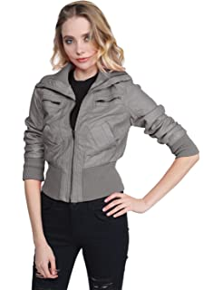 Awesome21 Women s Long Sleeves Zipper Closure Motorcycle Biker Faux Leather  Jacket a97bfcae9