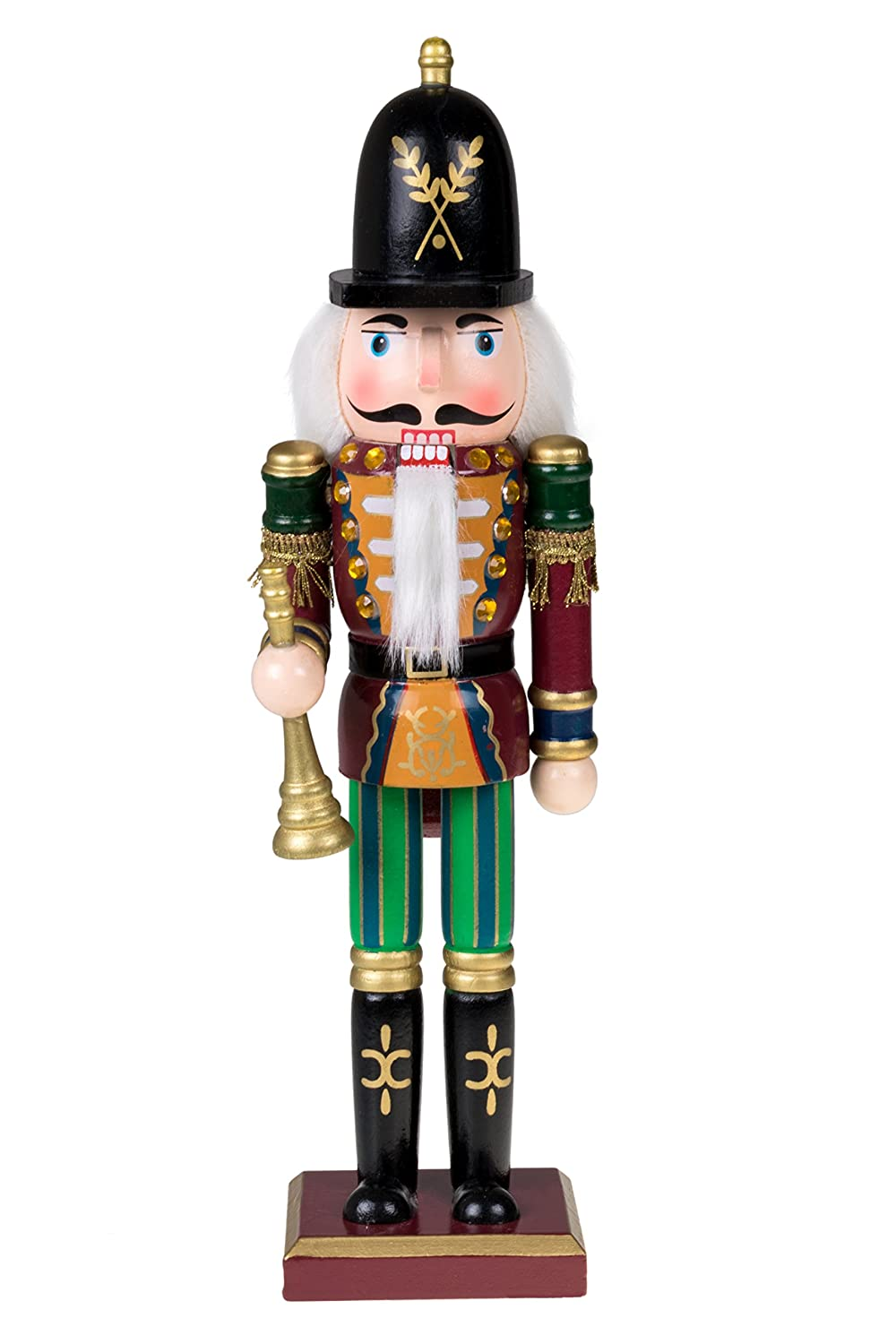 c565ceacb Clever Creations Traditional Soldier Nutcracker with Horn | Collectible  Wooden Christmas Nutcracker | Festive Holiday Decor