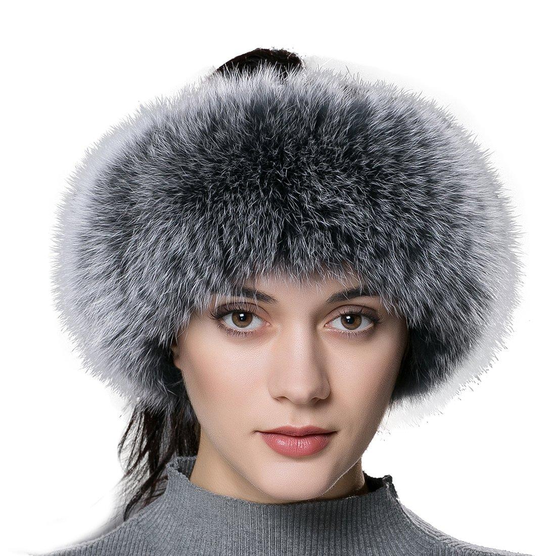 URSFUR Winter Fur Headband Women Warm Real Fox Fur Knitted Headband Earmuffs Gray Frost