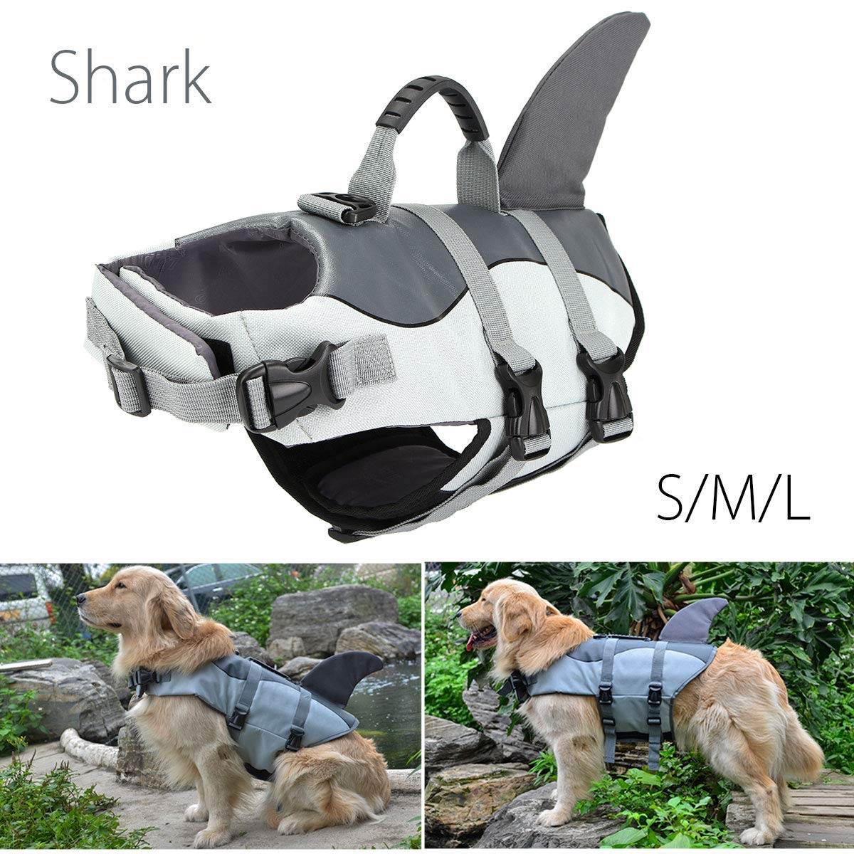 LIULINCUN Buoyancy Aid for Dogs, Dog Lifejacket, Pet Swimsuit for Pets, Dog Flotation Device, Safety Wear for Small Swimwear,Gray,L