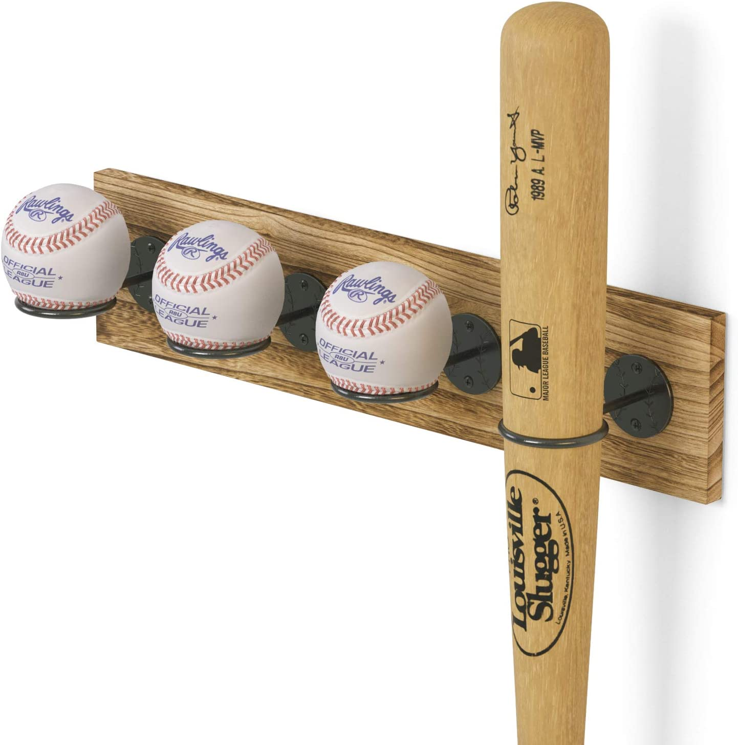 Wallniture Sporta Wood Baseball Bat and Ball Holder Wall Mount Display Stand for Man Cave, 4 Sectional Wall Shelf for Sports Memorabilia