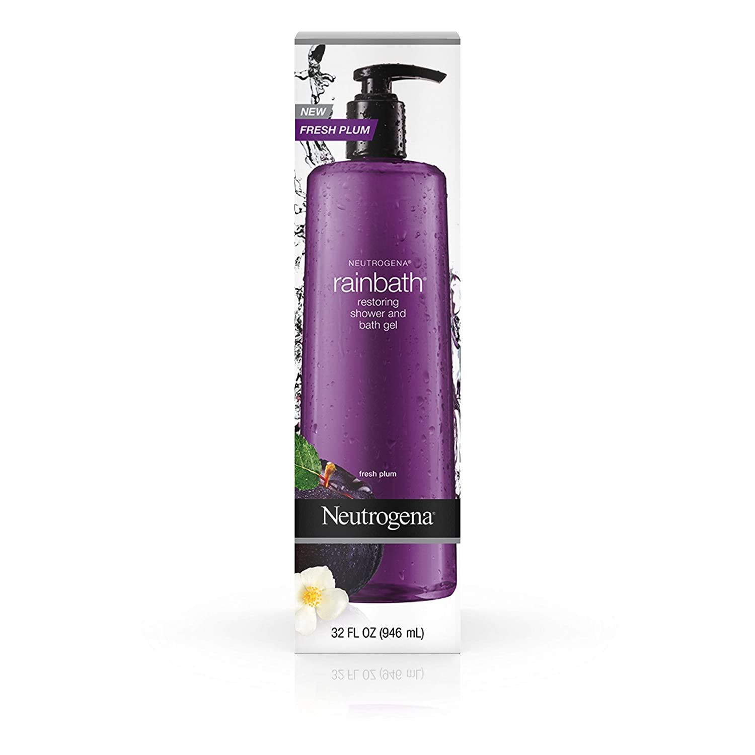 Neutrogena Rainbath Restoring Shower And Bath Gel, Moisturizing Body Wash and Shaving Gel with Clean Rinsing Lather, Fresh Plum and Floral Scent, 32 fl. oz