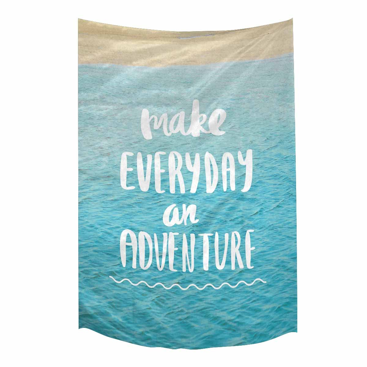 InterestPrint Inspirational Quote On Blue Ocean Sea Make Everyday an Adventure Tapestry Wall Hanging Hippy Tapestries Beach Throw College Dorm Decor, 60W X 90L Inch