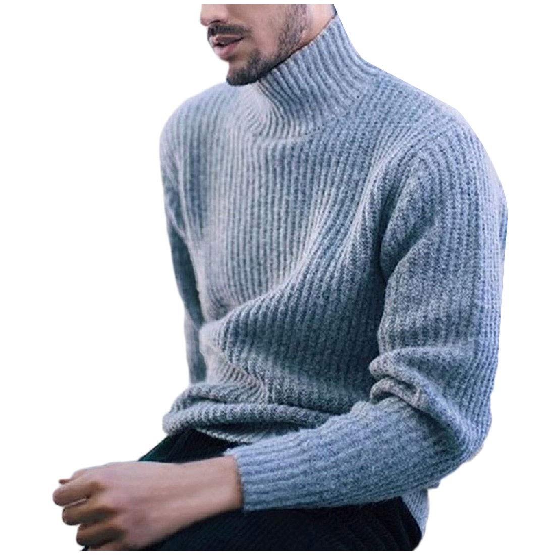 YUNY Mens Winter Solid High Neck Long-Sleeve Knitted Sweater Grey XL
