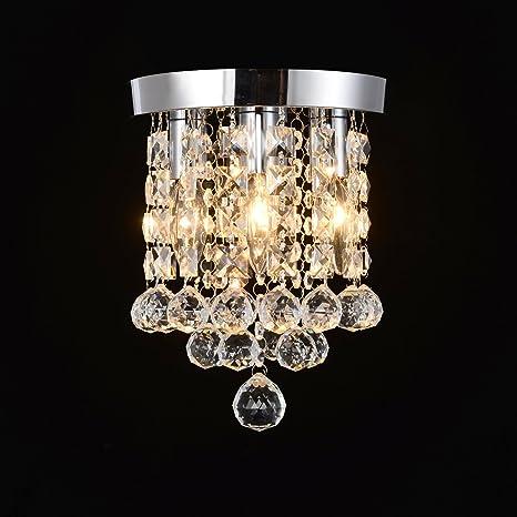 Bright 4 lights Crystal Chandelier, 7.9\'\' W, 10.6\'\' H Flush Mount ...