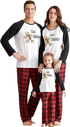 Yaffi - Conjunto de Pijama de Dos Piezas para Fiesta de Navidad o de Jengibre con Pantalones a Cuadros para papá, mamá y yo