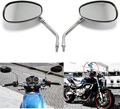 DLLL Motorcycle Chrome Rearview Side Mirrors 10mm Adapter Mount for Honda Shadow Cruiser Harley Davidsons Suzuki Honda Kawasaki Yamaha