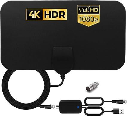 HCCH Antena TV Interior, Antena HDTV Digital de Alcance de 120 Millas con Amplificador Inteligente de Señal, para Canales de TV 1080P 4K VHF UHF TDT Gratuitos para DVB-T DVB-T2: Amazon.es: Electrónica
