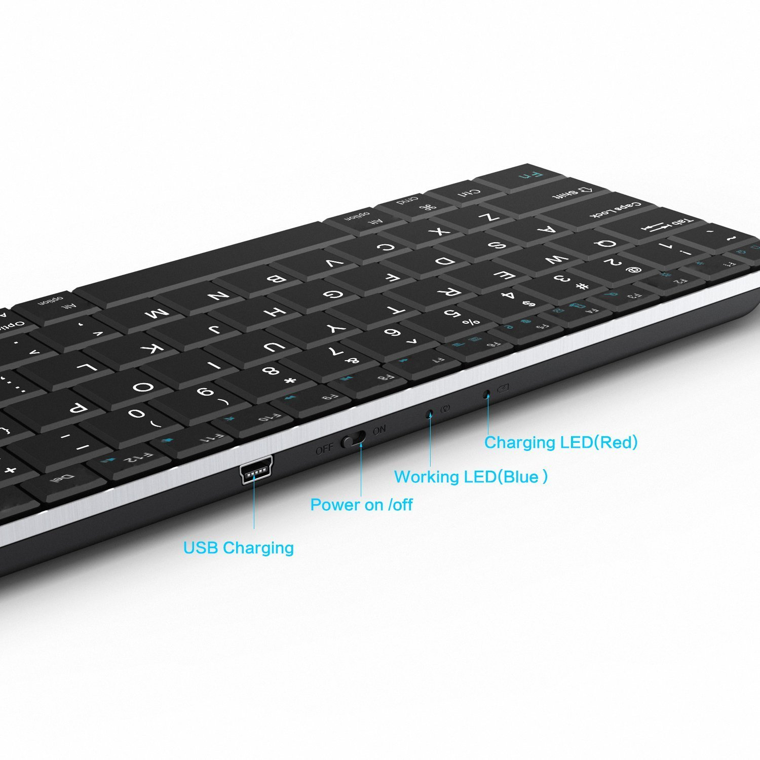 Rii i9 Bluetooth 3.0 Ultra Slim Wireless Rechargable Keyboard With Stainless Stand Cover For iOS/Android and Windows PC/Laptop/Notebook/MacBook/Samsung Galaxy Tablet/iPhone/iPad/Microsoft Surface by Rii (Image #2)