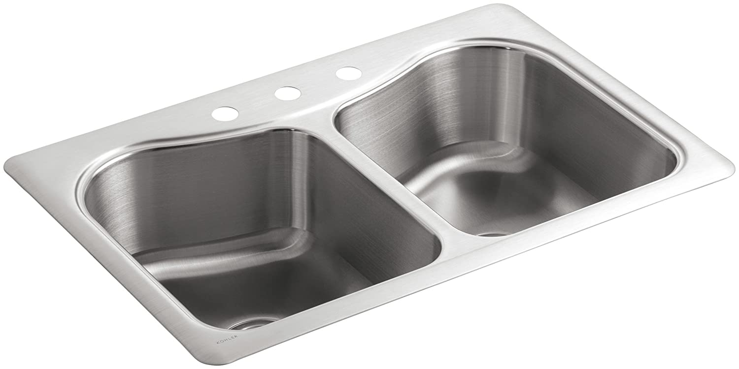 KOHLER K 3369 1 NA Staccato Double Basin Self Rimming Kitchen Sink, Stainless  Steel   Double Bowl Sinks   Amazon.com