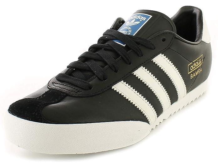 adidas Bamba Schwarz Textil Leder Indoor Fußball Schuhe Turnschuhe – SchwarzWeiß – UK Größen 6–12