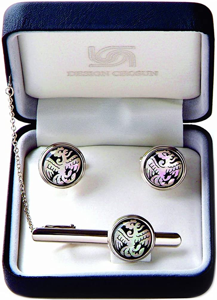 Antique Alive Mother of Pearl White Phoenix Round Tie Clip Bar Clasp Pin Tack Tac Cufflinks Set