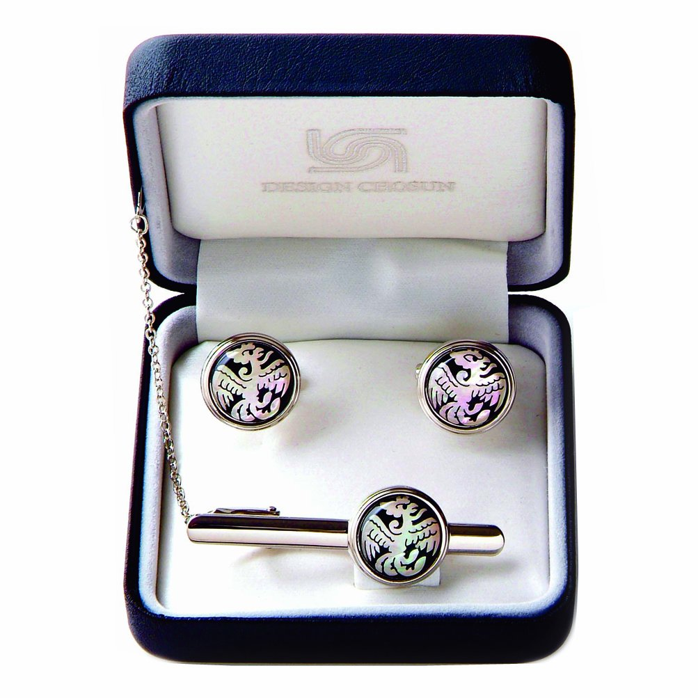 Mother of Pearl White Phoenix Round Tie Clip Bar Clasp Pin Tack Tac Cufflinks Set