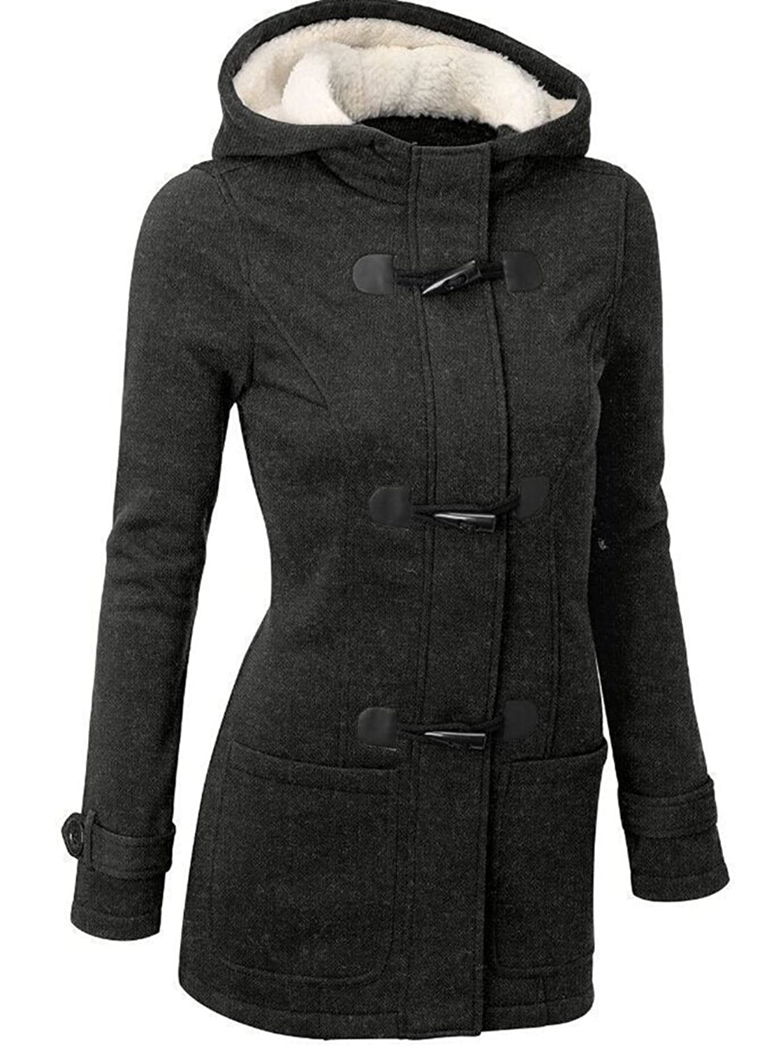 M.Brock Women's Wool Blend Pea Coat Outdoor Hooded Parka Jacket