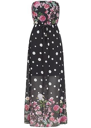 violet Fashion Damen Longform Bandeau Kleid Punkte & Blumen