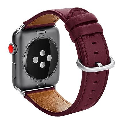Amazon.com: KADES Apple Watch Correa de piel, 38 mm, rojo ...