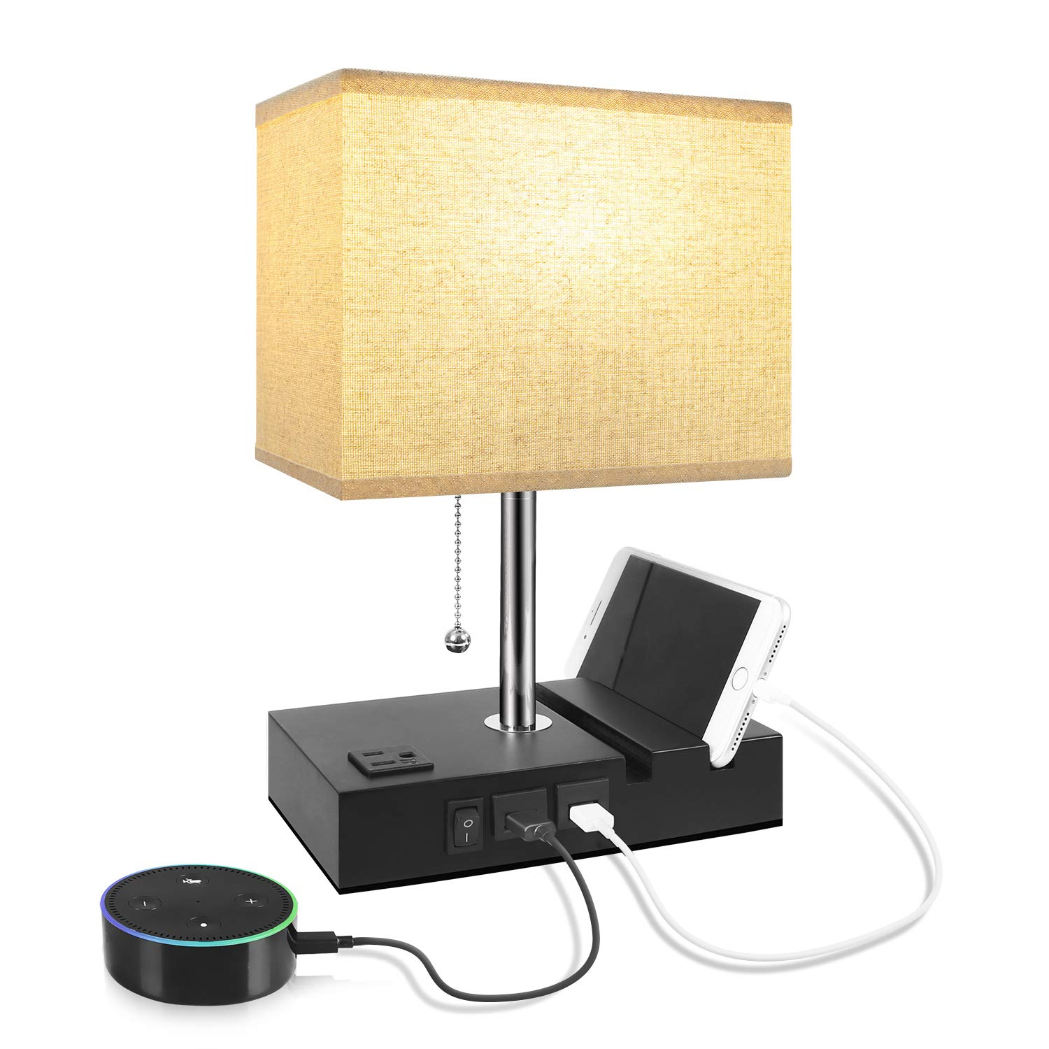 USB Table Lamp with 2 Useful USB Ports & One Outlet, Aooshine USB Bedside Lamp, Suitable for Nightstand Lamp or Bedroom Lamp, Grey Fabric Shade Desk Lamp,with 2 Convenient Phone Stand On The Base