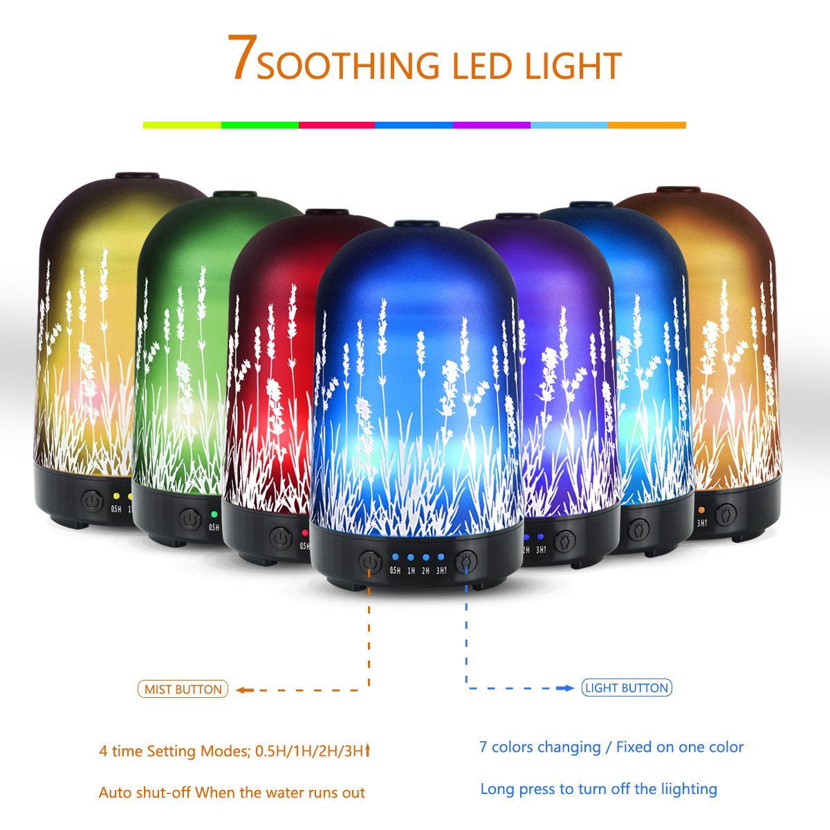Aromatherapy Essential Oil Diffuser 100ml Glass Fragrance Lavender Cold Mist Humidifier Waterless Automatic Shutdown 7 Colour LED Lights 4 Timed Settings For Home Office Yoga Spa ?- ¡ by PUSEAYZ (Image #3)