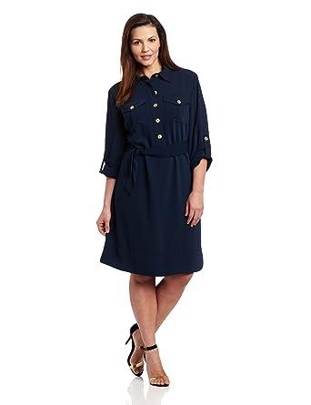 Jones New York Women\'s Plus-Size Long Sleeve Tunic Dress, Bright ...