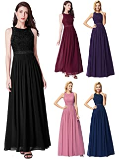03497342285d Ever Pretty Women's Sleeveless Lace High Collar Long Ball Gown A Line  Formal Evening Bridesmaid Dresses