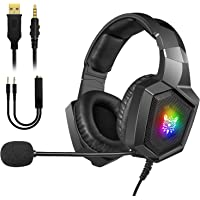 Audífonos Gamer con Micrófono, RGB Auriculares para PS4 PS5 Xbox One PC, Diadema Estéreo Audifonos de Gaming con…