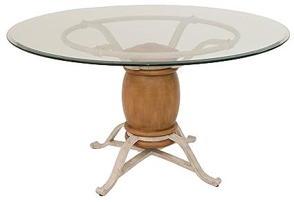 Impacterra Missouri Dining Table, Vintage/Sahara/Clear Glass 54u0026quot; Round