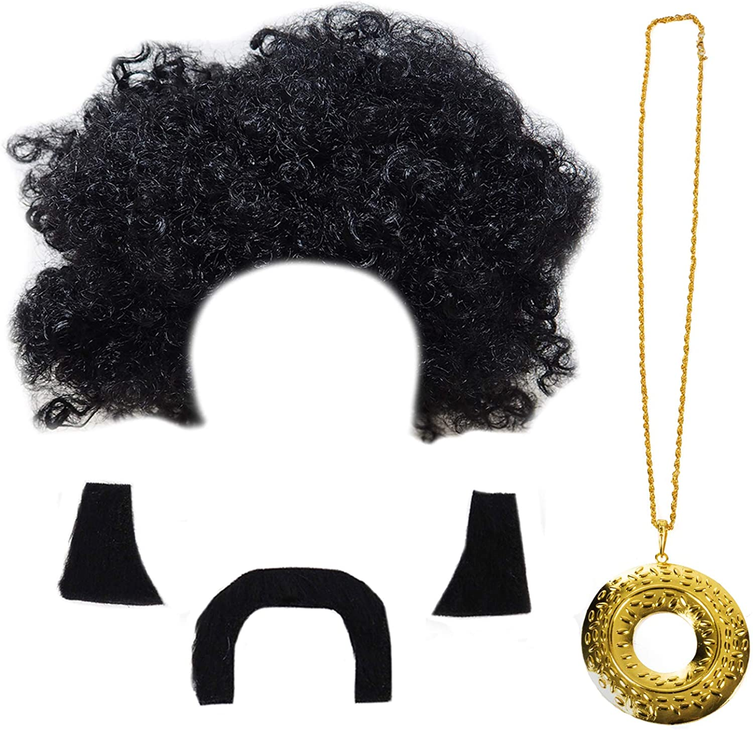 70s Funky Black Wig Adult Afro 1970s 80s Disco Costume Party Curly Hippie Wigs