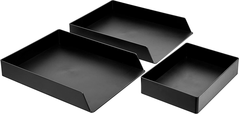 AmazonBasics Plastic Desk Organizer Bundle - Letter Tray 2-Pack/Accessory Tray, Black