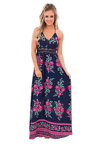 Haroty Vestido Camiseta Largos Elegante Casual Flores Impresión Sin Espalda para Mujeres Boho Verano Playa Fiesta Noche: Amazon.es: Ropa y accesorios