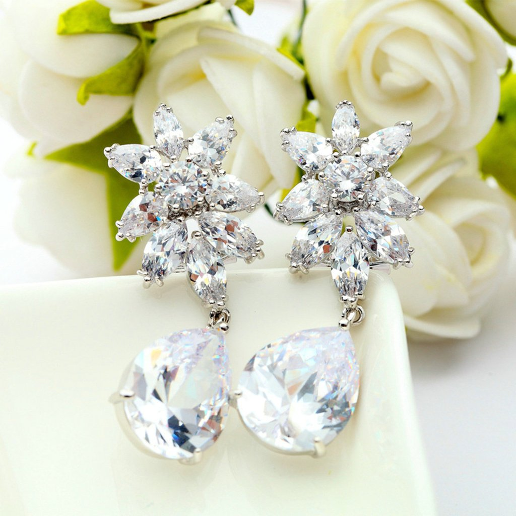 Gold Plated Earring Women Girl Flower Stud Earrings White Wedding Enagement Gift
