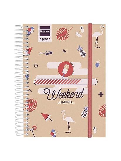 Finocam Prints - Agenda Septiembre 2018 - Agosto 2019 , Multicolor (Weekend), 120 x 164 mm, 1 día página