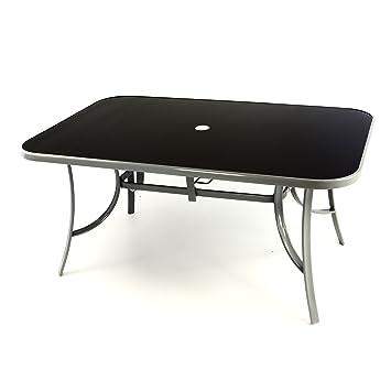 Fabulous Amazon.de: Metall Gartentisch Glasplatte Glas Tisch schwarz 150 cm  LV54