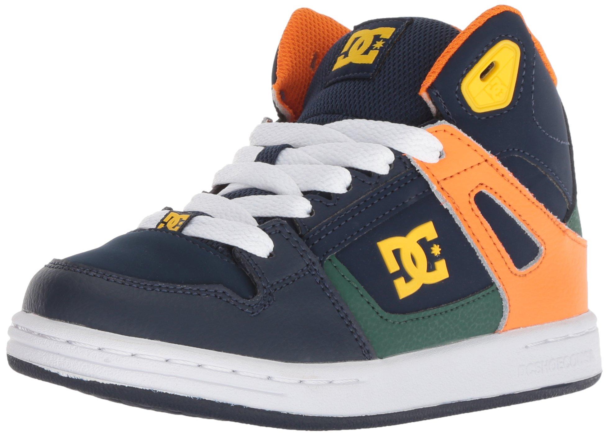 DC Boys' Pure HIGH-TOP Skate Shoe, Multi, 2 M US Little Kid