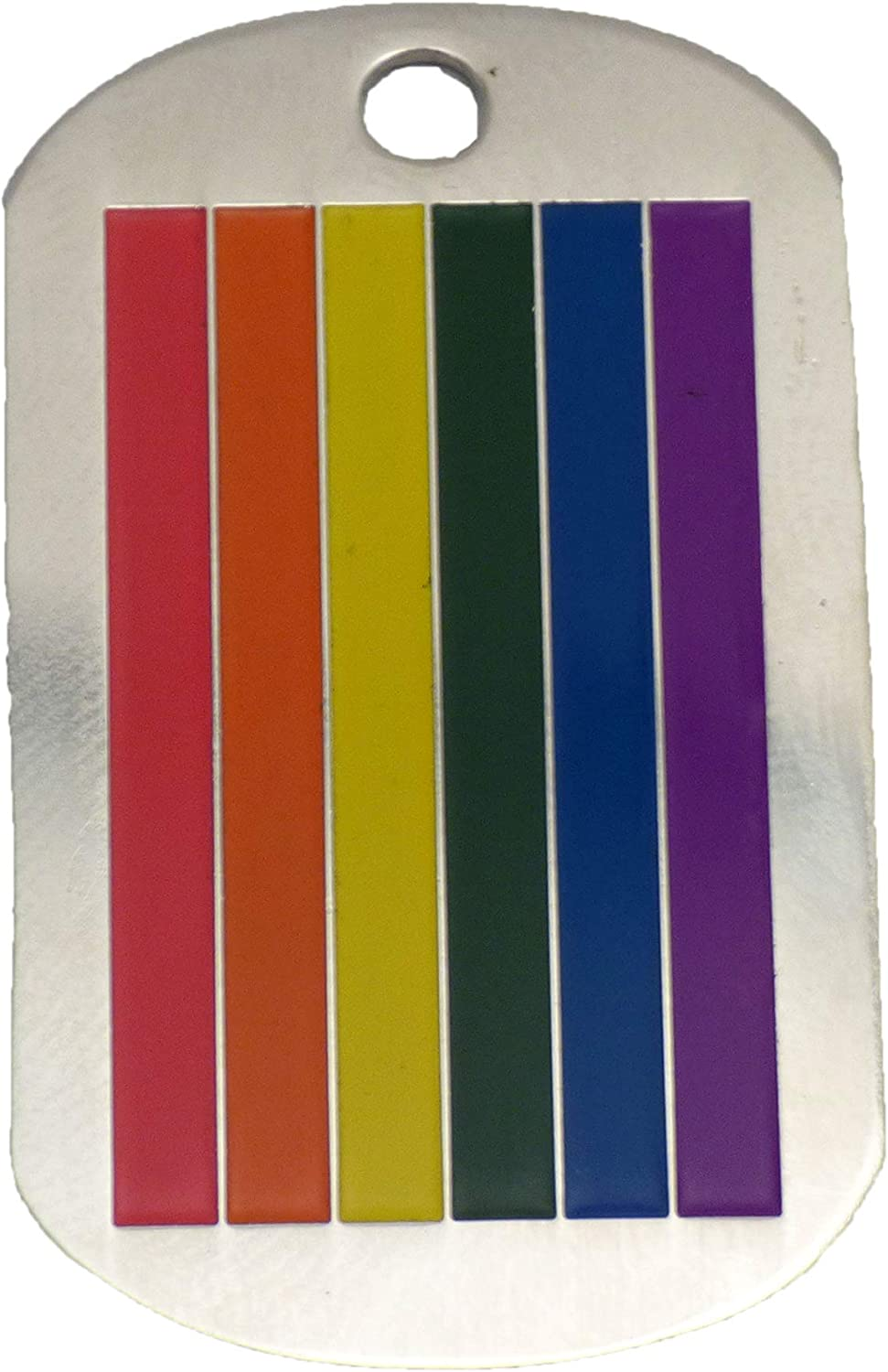 TOOLOUD Rainbow Vertical Gay Pride Flag Adult Dog Tag Chain Necklace