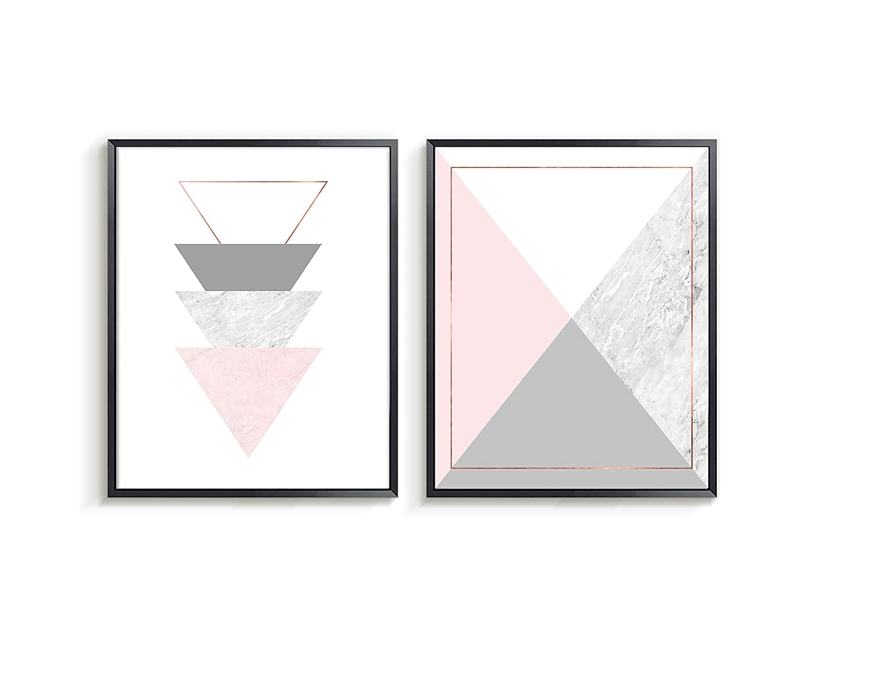 Amazon Com Geometry Wall Art Abstract Pink Grey Wall Art Triangle Art Home Decor Living Room Art Geometric Picture For Living Room Set Of 2 Wall Art Unframed Prints Handmade