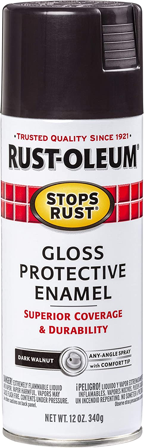 Rust-Oleum 262661 Stops Rust Spray Paint, 12-Ounce, Gloss Dark Walnut