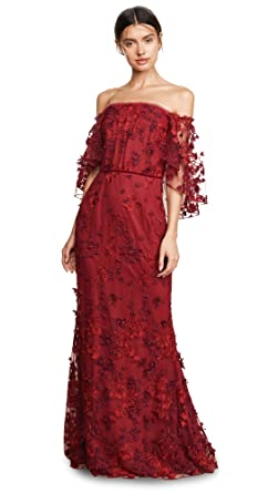 e6113ad9501 Marchesa Notte Women s OTS Flutter Sleeve Embroidered Gown at Amazon ...