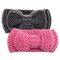 Sharplace 2pcs Winter Warm Gestrickt Stirnbänder Strick Haarband Turban Stirnband Wärmer für Baby Kleinkind